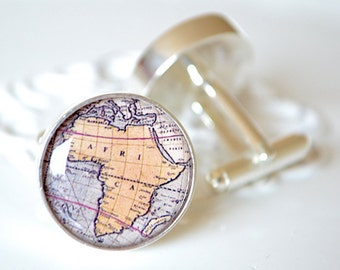 Africa vintage map cufflinks, timeless mens jewelry keepsake gift, classic cuff link accessories