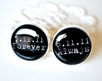 always and forever personalized date typewriter font cufflinks