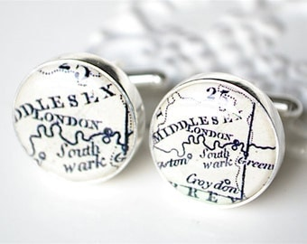 London England Map Cufflinks - vintage antique map - Keepsake gift for wedding day, birthday or fathers day