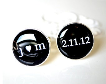 10X SETS - bulk order personalized cufflinks classic custom accessories black and white font inspired heirloom gift