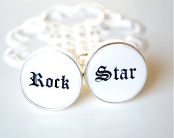 Rock star cufflinks, timeless mens jewelry keepsake gift, classic cuff link accessories