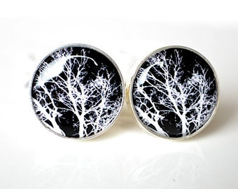 Tree branch cufflinks -  Nature keepsake gift for the groom, groomsmen, father of the bride on wedding day - style 001
