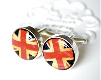 Union Jack Cufflinks - British flag keepsake gift for men - groom, groomsmen, father, wedding day United Kingdom travler