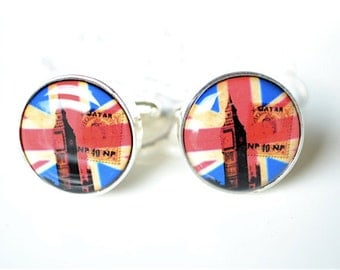 Big Ben and Union Jack Cufflinks - British flag keepsake gift - groom, groomsmen, father, wedding day United Kingdomtravler