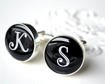 Initial cufflinks - personalized keepsake gift for him - By White Truffle Studio