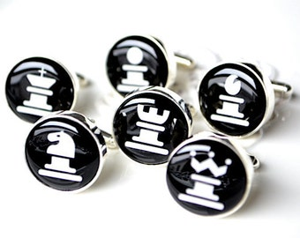 Chess Game Piece Cufflinks - Choose your own set - gifts for Father, Husband, Boss, Holiday Gift