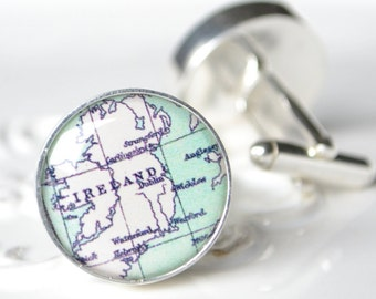Ireland Vintage Map Cufflinks - Silver Keepsake gift for the groom and groomsmen on your wedding day