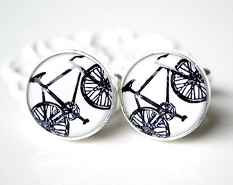 Black Bike Art Cufflinks - Stainless Steel Black and White Bicycle Cuff Links