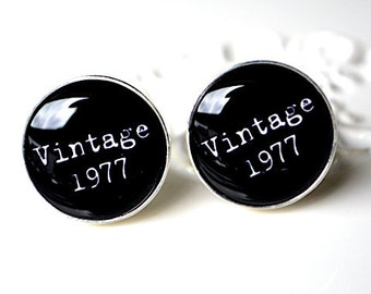 Cufflinks - personalized Vintage black and white cuff links handcrafted in the USA