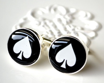 Spades Cufflinks,  timeless mens jewelry keepsake gift, classic cuff link accessories in the cards