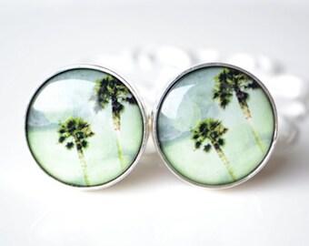Vintage palm tree cufflinks, timeless mens jewelry keepsake gift, classic cuff link accessories