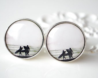 Vintage Surfer Boy Cufflinks - Vintage Surfer Collection - Keepsake gift for groom, groomsmen, husband or boss