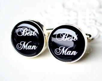 Best Man Cufflink - Script Wedding Font - Keepsake gift bestman