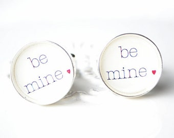 Valentine Cufflinks - Be Mine classic font with red heart