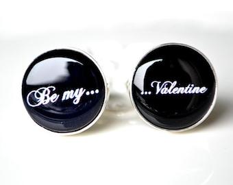 Be My Valentine Cufflinks - Black and white script font mens accessories