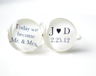 Today we become Mr and Mrs Custom date cufflinks -  keepsake gift for the groom groomsmen on wedding day