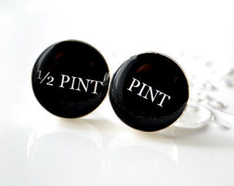 half pint and pint cufflinks - keepsake gift for men groom groomsmen wedding day anniversary