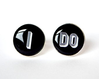 I DO cufflinks - Wedding day keepsake gift for the groom Men's Cuff Links Accessories Gifts Shipped From USA