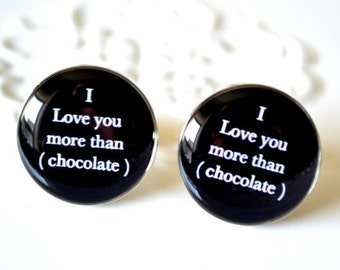 I love you more than chocolate cufflinks - keepsake gift for groom, father, men wedding day or anniversary