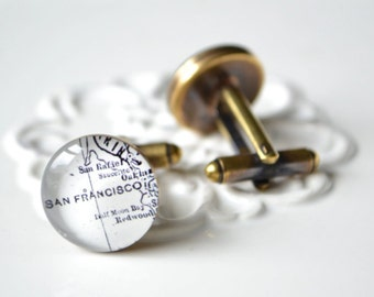 San Francisco Map Cufflinks -Keepsake gift for your wedding day, anniversary for the groom groomsmen father of the bride best man