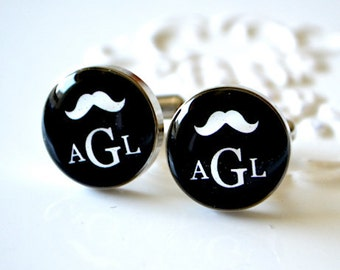 Personalized Mustache Monogram Cufflinks - Keepsake for the groomsmen groom best man or usher -  wedding day memory - style 020
