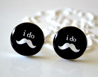 i do Mustache Cufflinks - Keepsake for the groomsmen groom best man or usher -  wedding day memory - style 021
