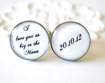 I love you as big as the moon Cufflinks custom date - Vintage typewriter print - wedding day keepsake, engagement, anniversary