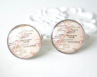 New Zealand Vintage Map Cufflinks,  timeless mens jewelry keepsake gift, classic cuff link accessories