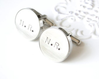 initial handstamped cufflinks - you heart me keepsake cufflinks for the groom and groomsmen