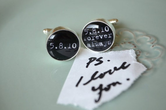 PS i love you - always and forever personalized typewriter font cufflinks - choose your own special date - keepsake,  groom, gift