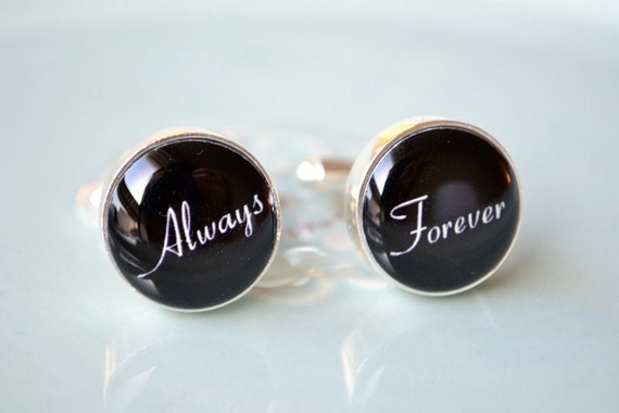 Always and forever cufflinks, timeless mens jewelry keepsake gift, classic cuff link accessories