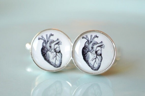 Vintage heart anatomy cufflinks, timeless mens jewelry keepsake gift, classic cuff link accessories
