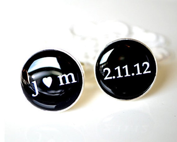 personalized mens cufflinks classic custom accessories black and white font inspired heirloom gift