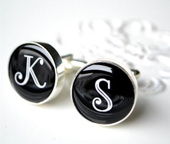 Initial cufflinks - personalized keepsake gift for him - By White Truffle Studio