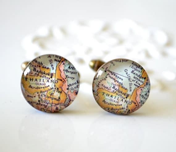 Thailand Map Cufflinks, antique brass cufflinks,  map jewelry, personalized cufflinks