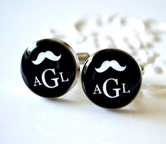 Personalized Mustache Monogram Cufflinks - Keepsake for the groomsmen groom best man or usher -  wedding day memory - style 020