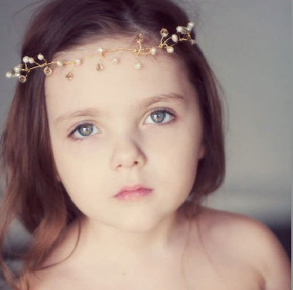 Maple Lynn Flower Girl Gold Twine, Crystal and Pearl Halo Crown - RESERVED for Lisa - Wedding day bridal accessory