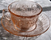 Sharon Cabbage Rose Depression Glass tea cup and saucer