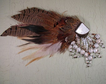 Indian Inspired Feathered Hair Clip