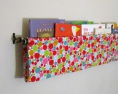 Children's Polka Dotted Fabric Book Sling with Black Curtain Brackets