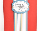 Birthday Cards - Set of 4 Red w/Stripes