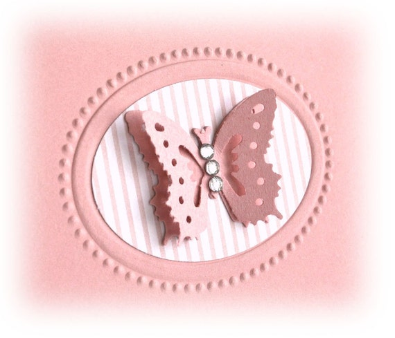 Notecards - Set of 5 Soft Pink with Layered Butterfly  US SHIPPING INCLUDED