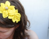 Yellow flower headband - large felt flower headband for woman and girls