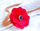 Felt poppy headband - red flower headband,womens anf girls headband, vintage inspired