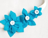 Turquoise felt flower headband with white buttons, blue dlower headband, womens headband