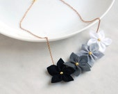 Statement necklace - Black and white felt flower necklace ,flowers bib necklace,cute necklace