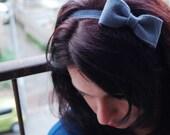Bow headband - grey bow on an elastic headband, cute kawaii headband