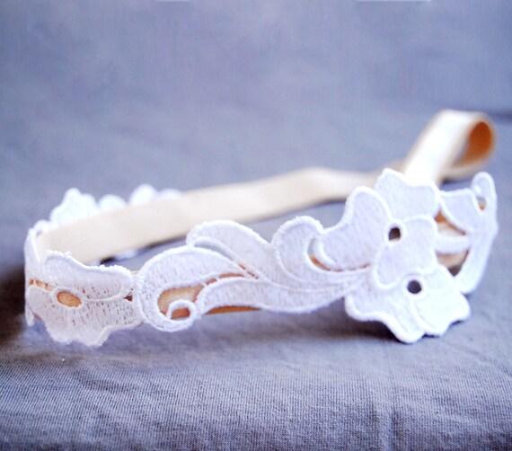 Lace flower headband - romantic white and peach silky elastic headband, floral bridal head piece.