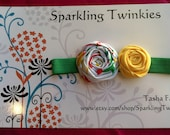 Spring Spring Designer fabric rosette headband -- Very Girly and Chic