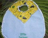 John Deere Denim Baby Bib Farmer Reversable